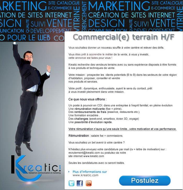 7ba455af8db Recrutement commercial H F Lille - société Kreatic